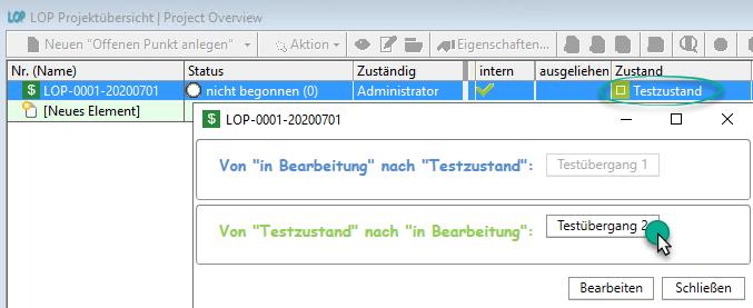 Testübergang 1 per Button in in-STEP BLUE