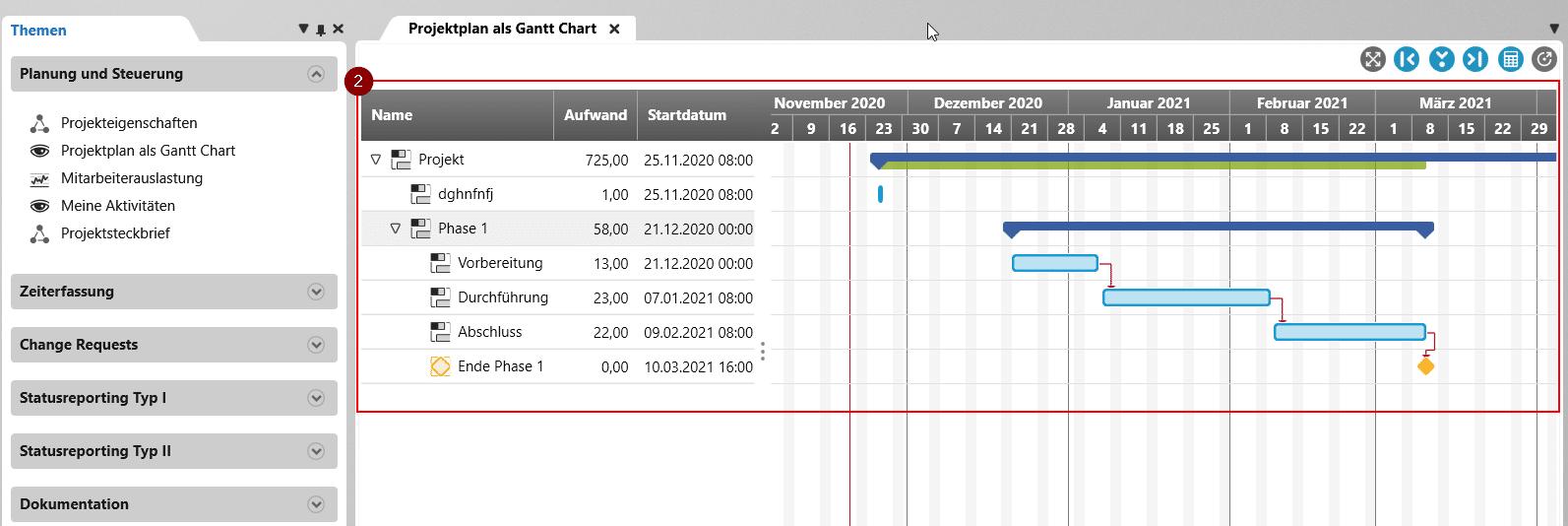 Gantt Chart in objectiF RPM