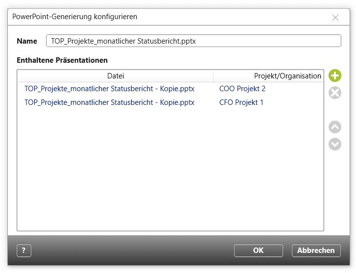 Konfiguration der PowerPoint-Generierung