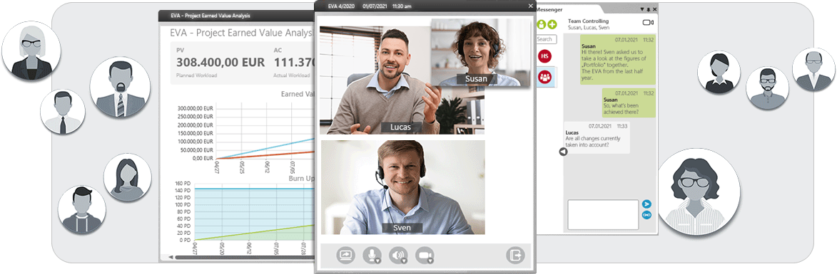 Video conferencing, chat and desktop sharing in objectiF RPM