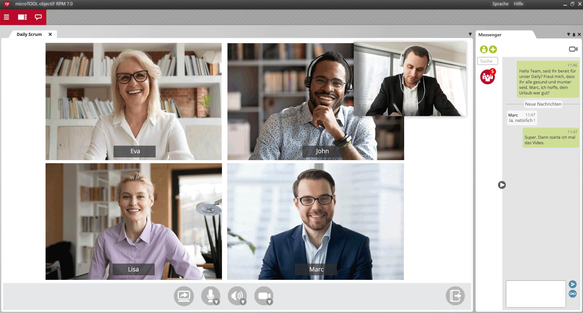 Projektmanagement Software mit integriertem Videoconferencing