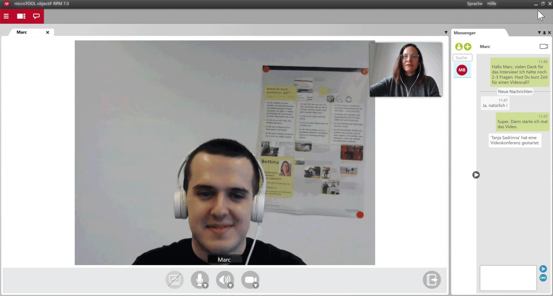 Videokonferenz und Chat in objectiF RPM