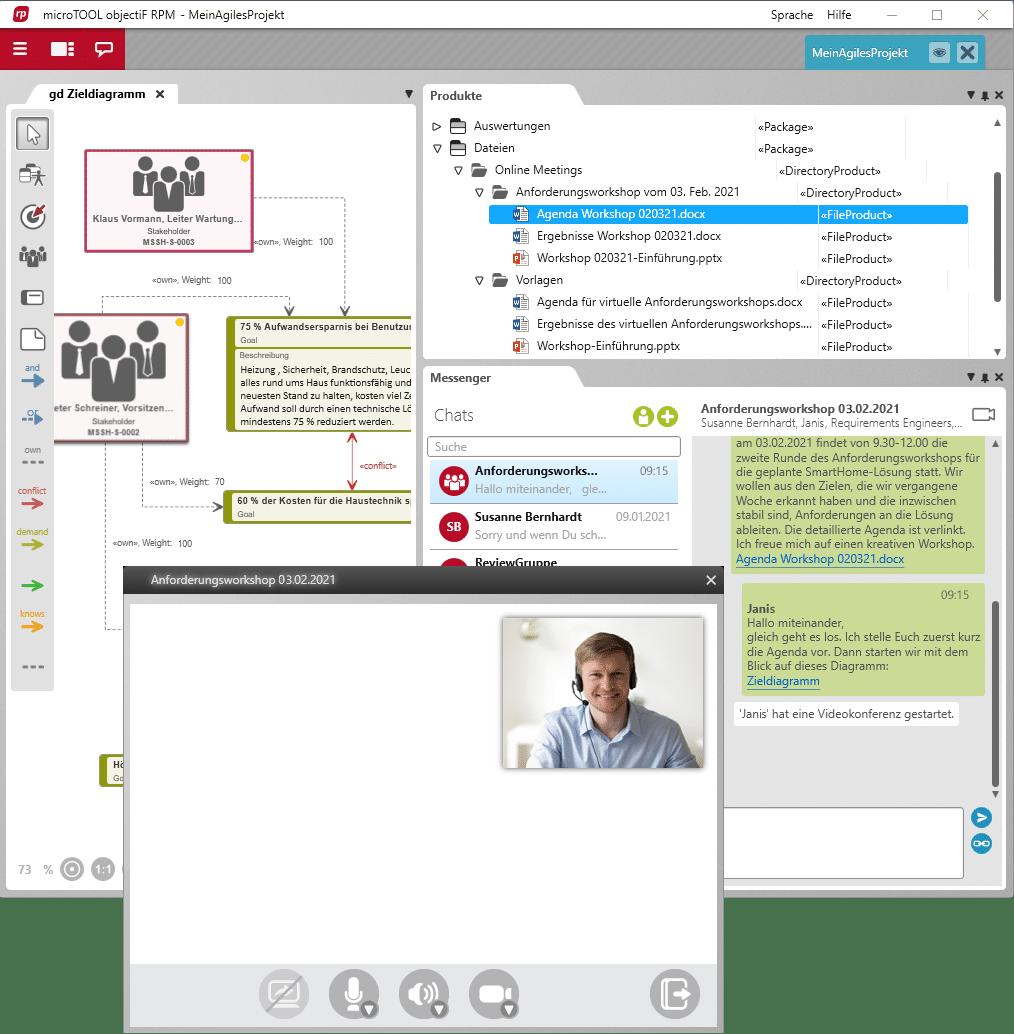 Videokonferenz in objectiF RPM abhalten