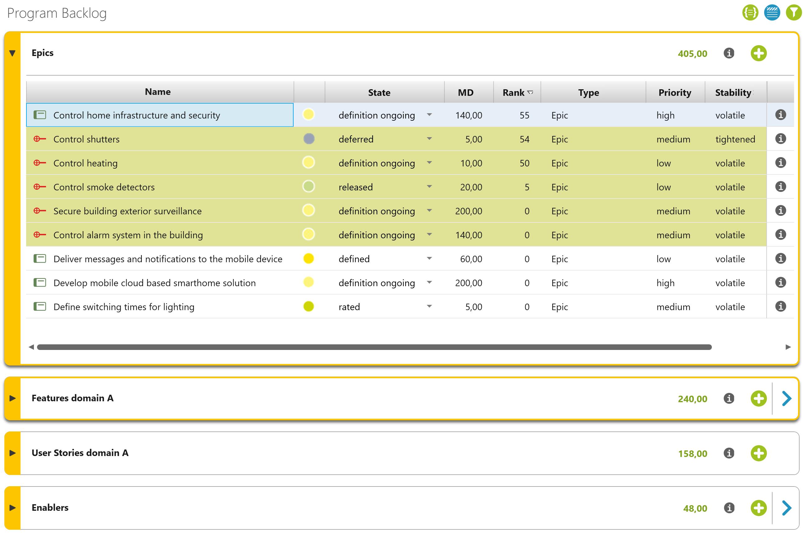Program backlog in objectiF RPM for SAFe