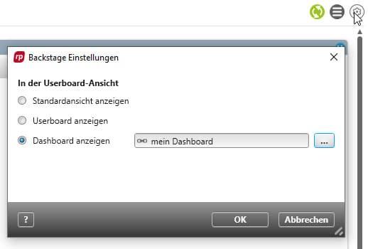 Wechsel vom Userboard zum Dashboard