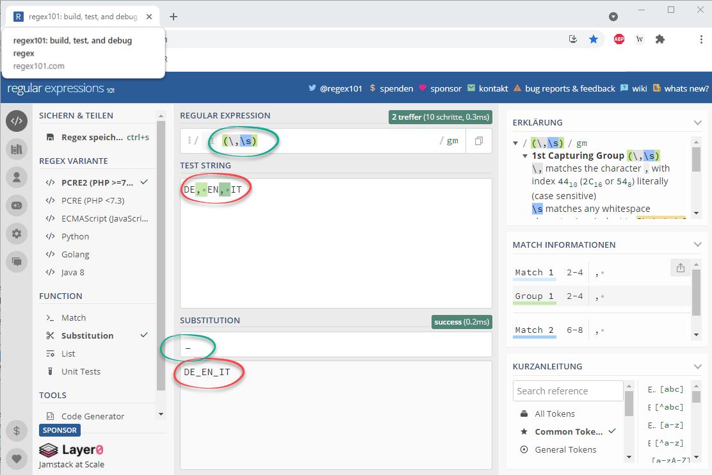 Regex Formeltest per regexx101