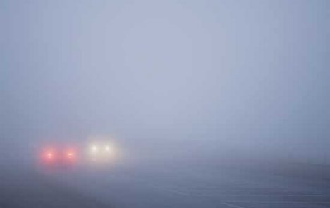 You should be careful while driving into fog