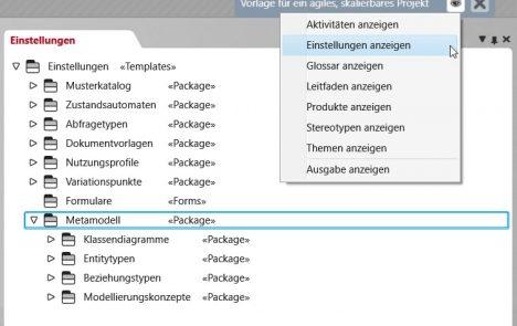Package-Hierarchie zur Ablage der Ergebnisse, die bei der Modellierung von benutzereigenen Artefakttypen entstehen.